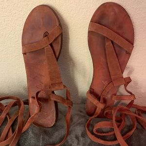 Free people sandals burnt red leather size 8